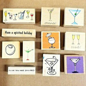 Lot of 11 Rubber Stamps on Wood Blocks - Martini